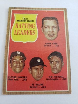 1962 topps American League Batting leaders Cash Howard Kaline Piersall vintage baseball card
