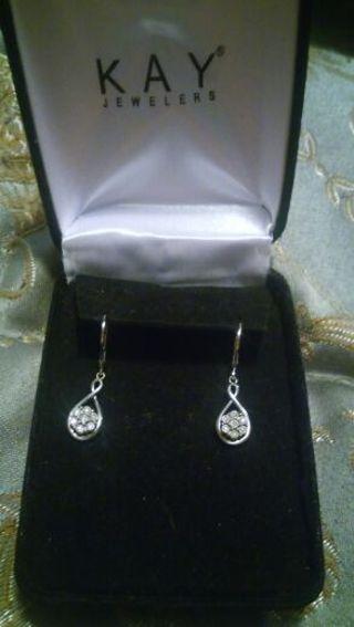 1/4 cut diamond sterling siver earrings