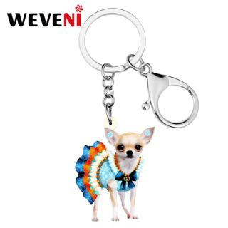 WEVENI Acrylic Colorful Skirt Chihuahua Dog KeyChain Key Rings Fashion Animal Jewelry For Women
