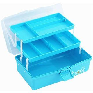 Sunxenze 12'' Three-Layer Clear Plastic Storage Box/Tool Box/Sewing Box