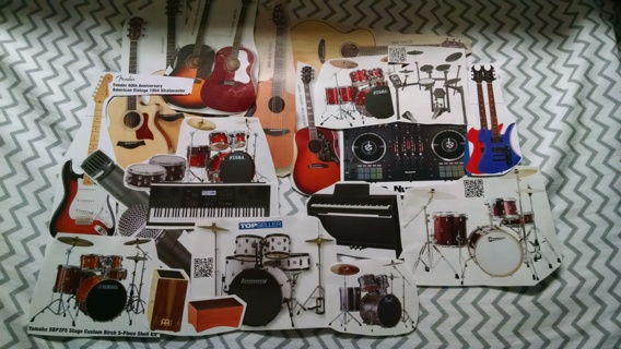 Second lot of musical instruments for scrapbook/collage use