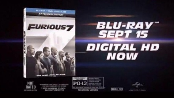 Furious 7 (Extended Edition) HD iTunes Codes ONLY! Not UV Ultraviolet!