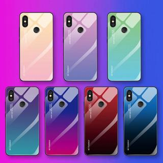 Colorful Gradient Tempered Glass Phone Case for Xiaomi Mi A1 A2 Max3 Mix3 Redmi note5 6A 6pro 5plu