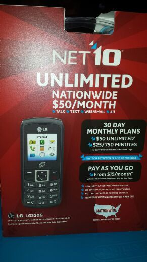 Free: NET 10 UNLIMITED NATIONWIDE LG LG320G, BRAND NEW