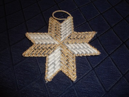 White & Gold Embroidery Cross Snowflake ~ Free Shipping