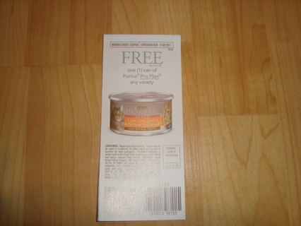 (1) coupon for a Free Can of Purina ProPlan Cat food in any variety