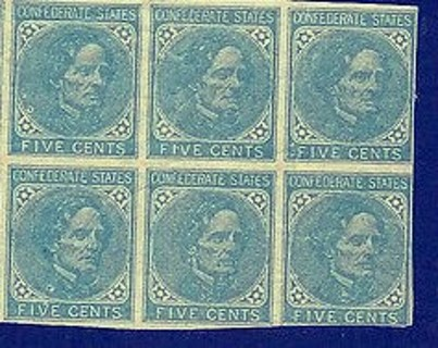 Free: US Confederate Stamps 1800's Block of (6) RARE HIGH VALUE