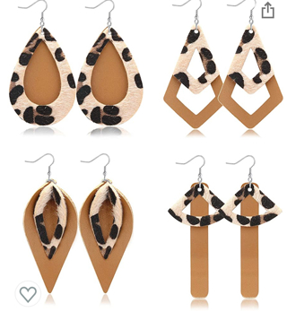 4 Pairs Layered Leopard Leather Earrings