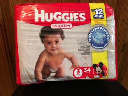 Huggies Diapers ~ Size 3 ~ 34 Count Pack