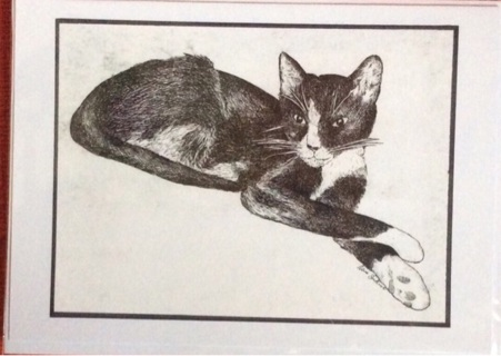 """TUXEDO CAT - 5 x 7"""" Art Card by Nina Struthers - GIN ONLY"""