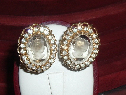 Lovely Vintage Glass Intaglio Cameo Earrings w/ Rhinestone Embellishments