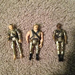 Free Lot Of 3 Gold Color Heavy Mega Corp Gi Joe Action Figures Mini