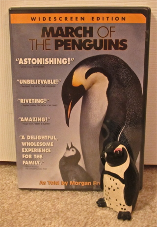 MARCH OF THE PENGUINS DVD (Widescreen Edition) & RARE AFRICAN PENGUIN FIGURINE