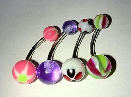 Four Brand New Belly Button Rings