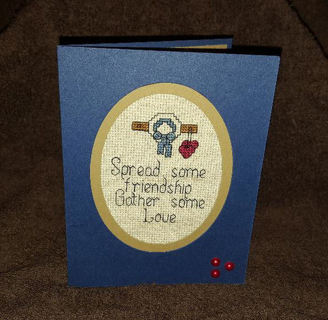 Counted Cross Stitch Card - handmade