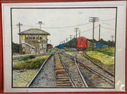 "CROSS TRACKS - 5 x 7"" art card by artist Nina Struthers - GIN ONLY"