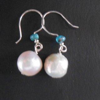 925 sterling silver  freshwater pearl / turquoise earrings