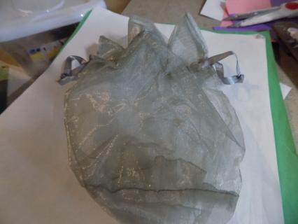 Large silver gray organdy drawstring jewelry bag # 2