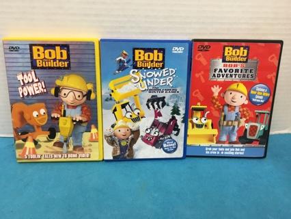 L505 LOT OF 3 KIDS DVDS  BOB THE BUILDER TOOL POWER SNOWED UNDER ADVENTURES