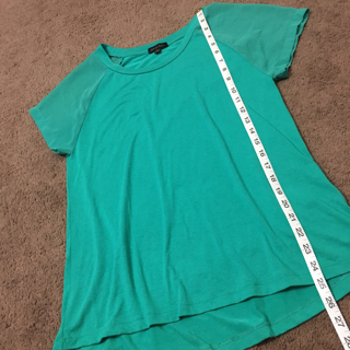 West Kei Women Chiffon Sleeve Top Hi-Low Stretch Loose Fit Top GREEN Small