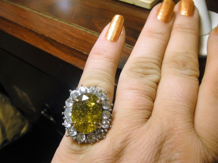 NEW Tiger Eye Size 5 1/2 Silver Tone Ring. Huge w/Crystals