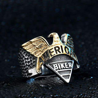 [GIN FOR FREE SHIPPING] Stainless Steel Eagle American Biker Two Tone Ring