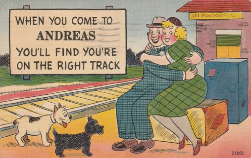 Vintage Used Postcard: Comic: 1949 When You Come to Andreas, You're on the Right Track