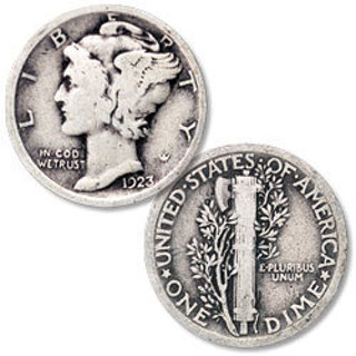One Mercury Silver Dime Coin in 1916-1945 Date Range