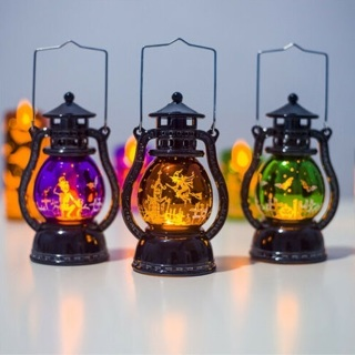 [GIN FOR FREE SHIPPING] Halloween Pumpkin Castle Witch Light Lamp Flame Party LED Lantern
