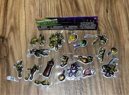 18 Teenage Mutant Ninja Turtles puffy stickers