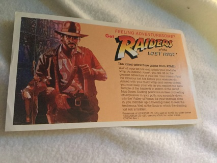 Raiders of the Lost Ark Atari advertisement