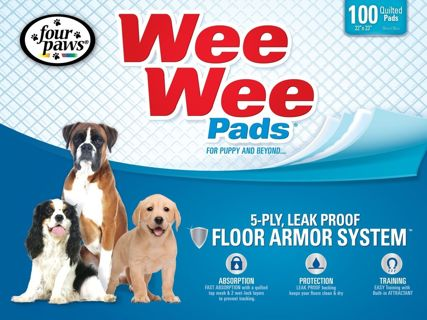 NEW - Four Paws Wee-Wee Puppy Dog Standard Housebreaking Pads - 100 Pack Box