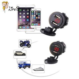 2 in 1 Dual USB 2.0 1A+2.1A Car Charger Voltage Voltmeter Motorcycle Marine Boat