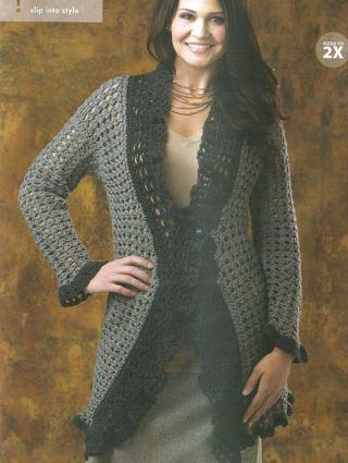 Free Crochet Patternassy Easy Flowing Lace Cardigan5 Sizes