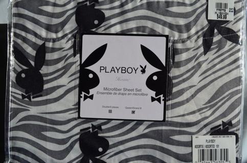 FREE PLAYBOY Zebra Bunny Queen Sheet Set