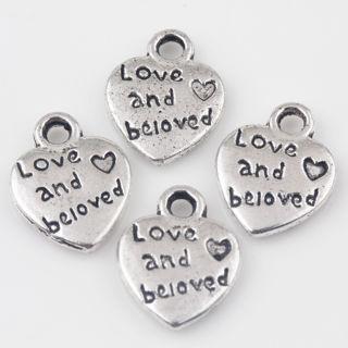 30PCs Tibetan Silver Love Heart Charms Pendants Jewelry Making 12x10mm