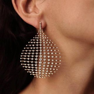 1 Pc Women Exaggerated Personality Crystal Geometric Gold Earrings Temperament Party Wedding Jewelry