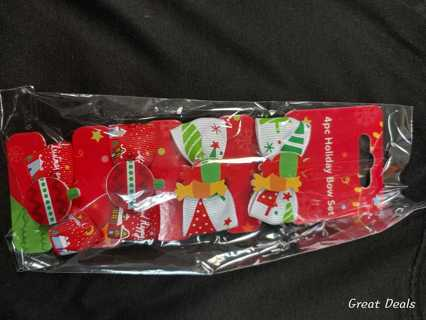 Brand New!! 4pc Christmas Holiday Bow Set
