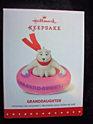 "NEW - $12.95 Retail ~ Hallmark Keepsake ""Granddaughter"" Ornament - POLAR BEAR on Snow Tube FREE SHIP"