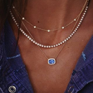 Women Temperament Blue Crystal Pendant Zircon Necklace Round Bead Clavicle Chain Bohemian Classic