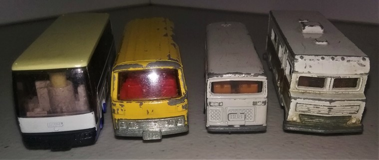 "3 vintage Japanese buses & 1 Winnebago - Made in Japan - 3"" long each - very used & very collectible"