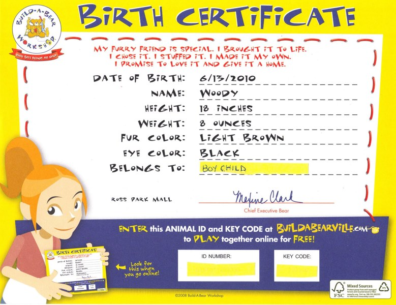 Free Legends Present Build A Bear Certificates Get your own – Online Birth Certificate Maker