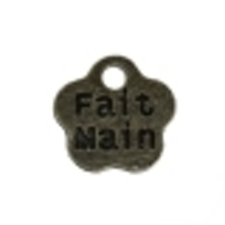 """Three Antique Bronze Flower French Message 'Fait Main"""" (Hand Made) Charm - 8mm"""