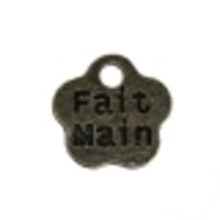 "Three Antique Bronze Flower French Message 'Fait Main"" Charm - 8mm"