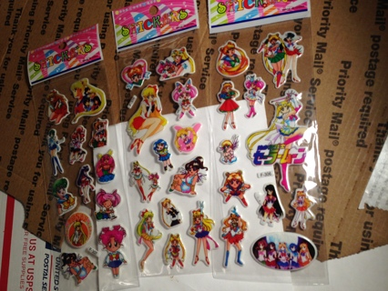 NEW JAPANESE SAILOR MOON STICKERS PopUp BUBBLE Stickers Vibrant Detailed FREE SHIPPING