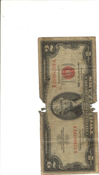 RED LABELED $2.00 BILL
