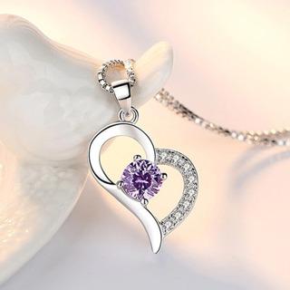 Purple Crystal Zircon Heart Pendant Necklace