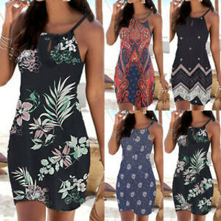 Womens Summer Halter Neck Boho Print Sleeveless Mini Beachwear Dress Sundress US