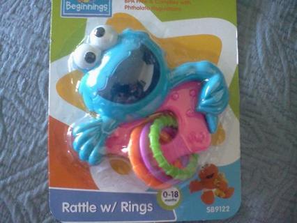 COOKIE MONSTER Rattle W/Rings- Sesame Street Sesame Beginnings- 0-18 mos