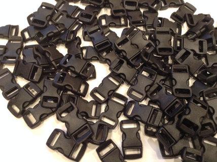 "Lot of 100 - 3/8"" side release Contoured Black Buckles for Paracord Bracelets"